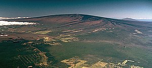 Hotspot (geology) - Mauna Loa is a large shield volcano. Its last eruption was in 1984 and it is part of the Hawaiian–Emperor seamount chain.