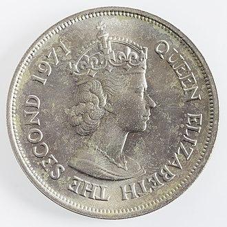 Queen of Mauritius - 10 Mauritian rupee coin, 1971