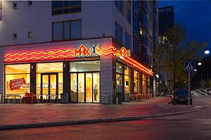Max Hamburgers - A Max Restaurant in Hammarby Sjöstad, Stockholm in Sweden.