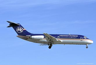 A DC-9-14 in Midwest Express' second livery in 2002. McDonnell Douglas DC-9-14, Midwest Express Airlines JP27907.jpg
