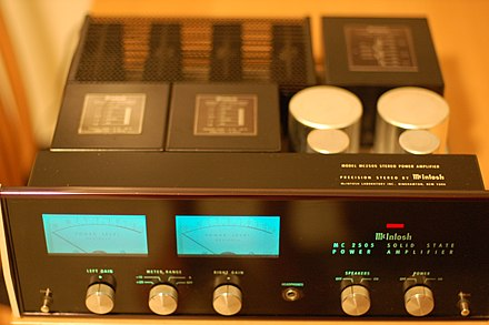 A 100 watt stereo audio amplifier used in home component audio systems in the 1970s. McIntosh MC2505.jpg