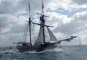 Melbourne Day - The replica of the schooner Enterprize, launched in 1997