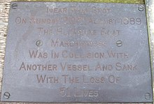 "Brass plaque that reads: ""Near this spot on Sunday 20th August 1989 The Pleasure Boat Marchioness was in collision with another vessel and sank with the loss of 51 lives"""