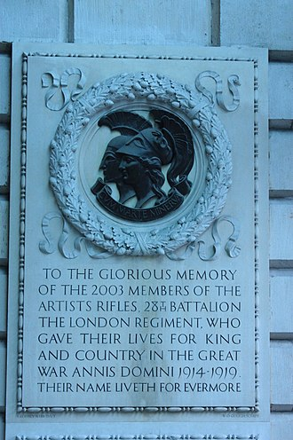 Artists Rifles - Memorial to the 2003 men lost in the Artists Rifles, Royal Academy, London