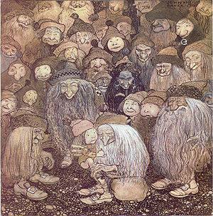 "Among Gnomes and Trolls - ""Tjovik crept up onto the old troll's lap and stroked his beard.""–The trolls and the gnome boy, John Bauer 1909."