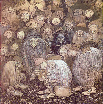 """Among Gnomes and Trolls - """"Tjovik crept up onto the old troll's lap and stroked his beard.""""–The trolls and the gnome boy, John Bauer 1909."""