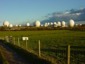 Mass surveillance - RAF Menwith Hill, a large site in the United Kingdom, part of ECHELON and the UKUSA Agreement.