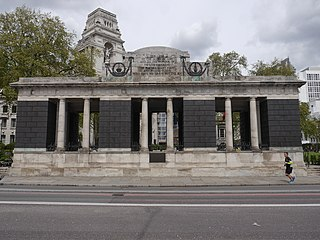 Tower Hill Memorial war memorial in Trinity Square Gardens, in London, England