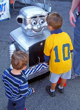 Metro-North Railroad - Metro Man, the railroad's mascot, meets young visitors at Open House.