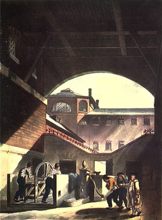Coldbath Fields Prison - Two prisoners working the water engine in the prison, from Ackermann's Microcosm of London, 1808