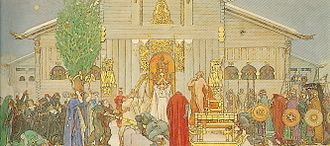 "Norse rituals - Artistic impression of a mid-winter blót in Uppsala in the painting ""Midvinterblot"" by Carl Larsson."