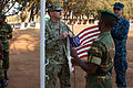 Military personnel and delegates from more than 40 nations gather at the Zambia Army Headquarters in Lusaka, Zambia, Aug. 7, 2013, for the opening ceremony of the Africa Endeavor (AE) 2013 exercise 130807-Z-VX744-129.jpg