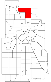 Location of Columbia Park within the U.S. city of Minneapolis