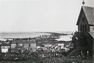 Duluth, Minnesota - Minnesota Point from the hill above Duluth in 1875