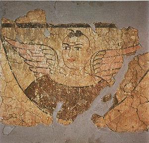 Miran (Xinjiang) - Fresco from an ancient stupa, Miran