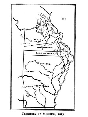 Arkansas Territorial Militia - Map showing the Districts (later known as counties) of the Missouri Territory in 1813