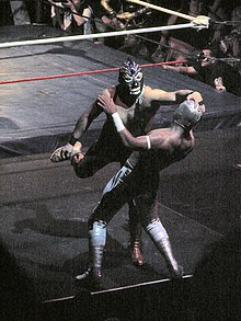 Two masked wrstlers fighting outside the ring, with one wrestling trying to pull the mask off the other.