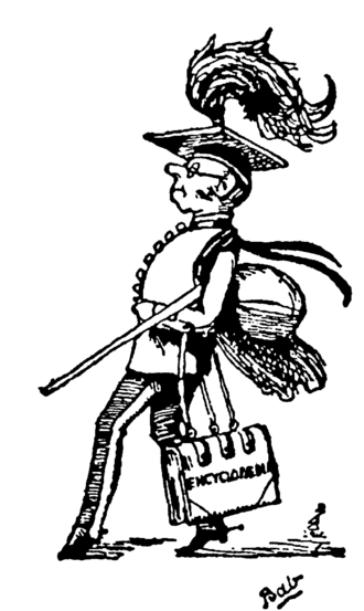 "Patter song - The Major-General (a patter-singing character in The Pirates of Penzance by Gilbert and Sullivan) depicted in a ""Bab"" drawing by W. S. Gilbert"