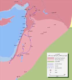 Map detailing the route of خالد بن الوليد's invasion of Northern Syria