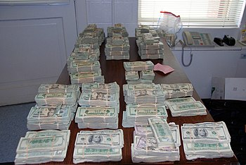 English: Money seized during