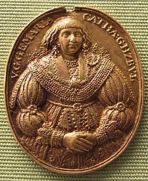 Adolf Frederick I, Duke of Mecklenburg - Marie Katharina on a medal (1635)