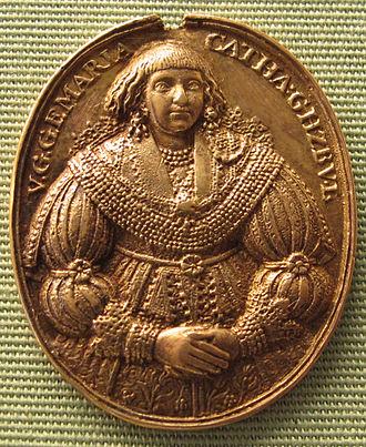 Adolf Frederick I, Duke of Mecklenburg - Marie Katharina on a medal (1635)