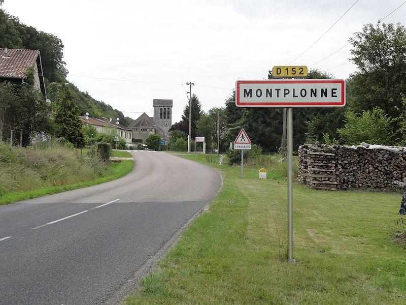 Montplonne (Meuse) city limit sign