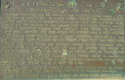 Monument near Coos Bay, Oregon, of Francis Drake's first North American Encounter. Plaque by Oregon State Parks and Oregon Historical Society. Monument near Coos Bay, Oregon, of Francis Drake's first North American Encounter.jpg