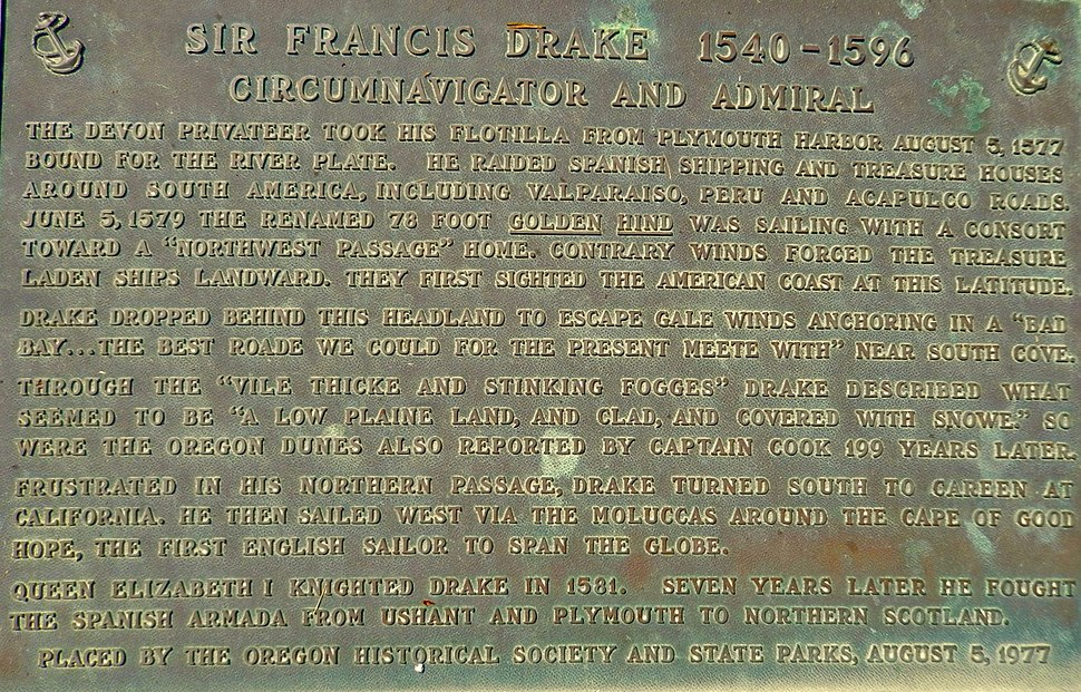 Monument near Coos Bay, Oregon, of Francis Drake's first North American Encounter