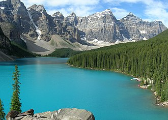 Moraine Lake - The blue-green color of the lake is due to glacial rock flour.
