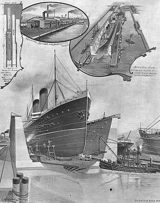 Morse Dry Dock and Repair Company - Image: Morse Dry Dock Company dry dock and piers, 1900
