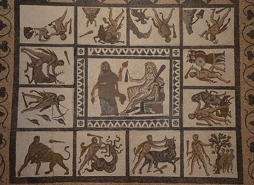 Mosaic with the Labors of Hercules, 3rd century AD, found in Liria (Valencia), National Archaeological Museum of Spain, Madrid (15457383995)