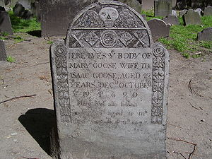 Mother Goose - Mary Goose's gravestone in Granary Burying Ground is shown to tourists in Boston, Massachusetts