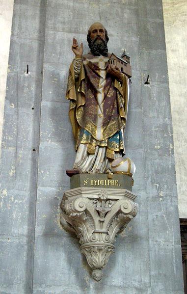 Den hellige Hidulf, statue i klosterkirken i Moyenmoutier (1800-t)
