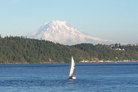 Snowcapped peaks are a backdrop to many Puget Sound scenes; here Mount Rainier is seen from Gig Harbor.