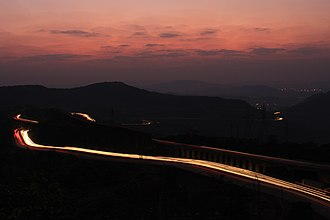 Mumbai Pune Expressway - The Mumbai-Pune Expressway at night as seen from Khandala, Pune district