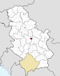 Location of the municipality of Batočina within Serbia