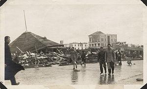 Seawall Boulevard - Murdoch's Bathhouse Wreckage after 1915 Galveston Hurricane
