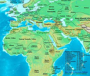 Egypt in the Middle Ages - The near East in 1025 AD, showing the Fatimid Caliphate and neighbors.