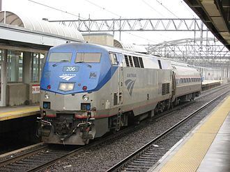 Greenfield, Massachusetts - Engine and single-car train for the New Haven–Springfield Shuttle, which will connect Greenfield from points south to New Haven in a pilot program starting in Spring 2019