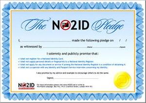 NO2ID - NO2ID Pledge certificate