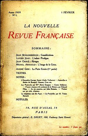 Nouvelle Revue Française - Image: NRF Numéro 1 Février 1909