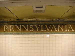 34th Street–Penn Station (IRT Broadway–Seventh Avenue Line) - Name on trim line