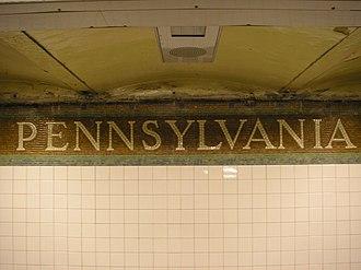 34th Street–Penn Station (IRT Broadway–Seventh Avenue Line) - Name on trim line