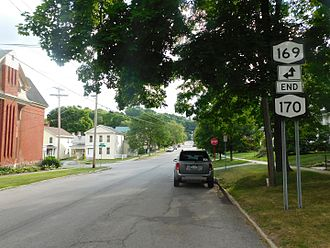 New York State Route 170 - NY 170 southbound approaching NY 169 in Little Falls