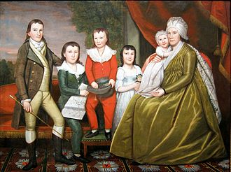 Noah Smith (judge) - 1798 Ralph Earl portrait depicting Chloe Burrall Smith, the wife of Noah Smith, and their five surviving children.  From left: Henry, Daniel, Noah, Eliza, and Celia.  Oil on canvas original, 64 x 85 3/4 inches.  Part of New York's Metropolitan Museum of Art collections.