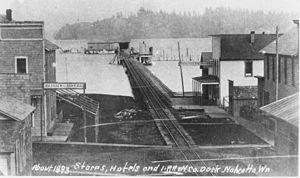 Steamboats of Willapa Bay - Nahcotta Washington, 1893, railroad pier and steamboats at dock