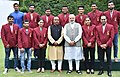 Narendra Modi and Vijay Goel in a group photograph with the Arjuna Awardees of 2016.jpg