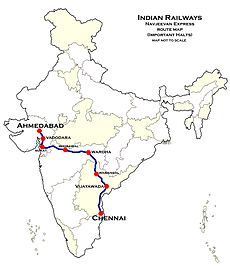 Navjeevan Express (ADI-MAS) Route Map.jpg