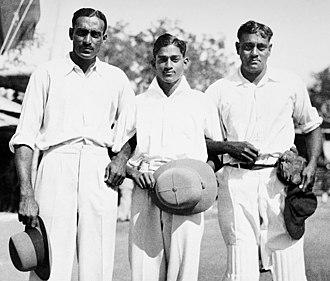 C. K. Nayudu - Left-right: C. K. Nayudu, C. S. Nayudu and C. L. Nayudu in Indore c. 1934. All three brothers played competitive cricket